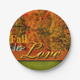 Fall In Love Foliage Photo Autumn Wedding Scenic 7 Inch Paper Plate
