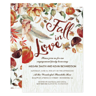 Fall in Love Harvest Pumpkin Engagement Party Card