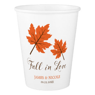 Fall in Love Orange Brown Leaves Wedding
