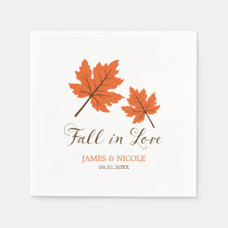 Fall in Love Orange Brown Leaves Wedding Disposable Serviette