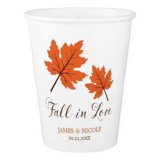 Fall in Love Orange Brown Leaves Wedding Paper Cup