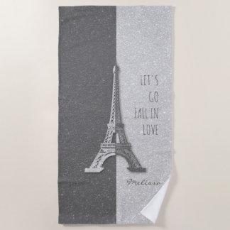 Fall in love Paris | Romantic Eiffel Tower Beach Towel