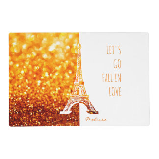 Fall in love Paris | Romantic Eiffel Tower Laminated Placemat