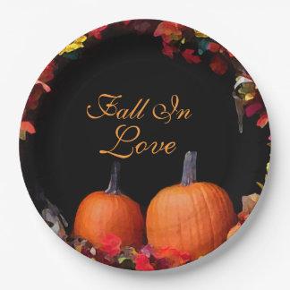 Fall In Love Rustic Autumn Wedding Orange Pumpkins 9 Inch Paper Plate