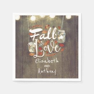 Fall in Love Rustic Wedding Disposable Napkin