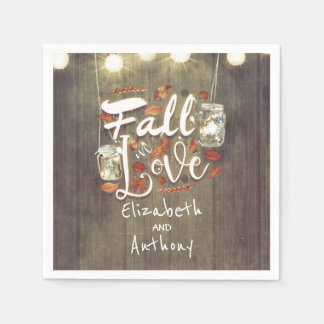 Fall in Love Rustic Wedding Disposable Serviettes