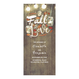 Fall in Love Rustic Wedding Programs Rack Card