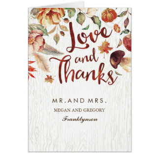 Fall in Love Thank You Floral Autumn Wedding Card
