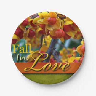Fall In Love Wedding Autumn Floral Photo Design 7 Inch Paper Plate