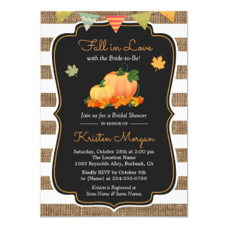 Fall in Love with Bride to Be Autumn Bridal Shower 13 Cm X 18 Cm Invitation Card