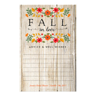 Fall In Love, Wood Bridal Shower Advice Cards