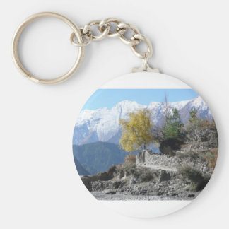 Fall in Nepal picture Basic Round Button Key Ring