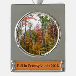 Fall in the Forest Colorful Autumn Photography Silver Plated Banner Ornament