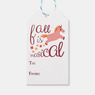 Fall Is Magical  Maroon Blush Color Unicorn Gift Tags