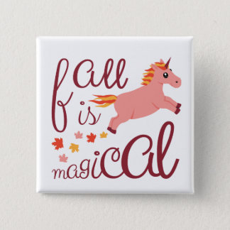 Fall Is Magical Peach Pink Unicorn Pin