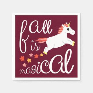 Fall Is Magical Unicorn Maroon Napkin Paper Napkin