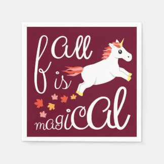 Fall Is Magical Unicorn Maroon Napkin Paper Napkins