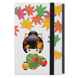 Fall Kokeshi Doll - Green Kimono Geisha Girl Case For iPad Mini