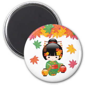 Fall Kokeshi Doll - Green Kimono Geisha Girl Magnet