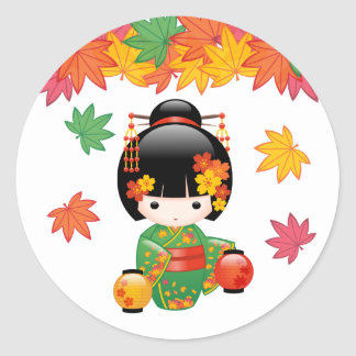 Fall Kokeshi Doll - Green Kimono Geisha Girl Round Sticker