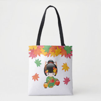 Fall Kokeshi Doll - Green Kimono Geisha Girl Tote Bag