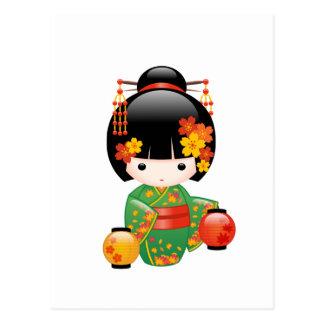 Fall Kokeshi Doll - Japanese Geisha Girl Postcard