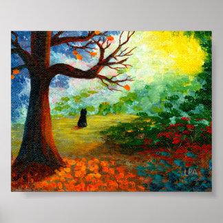 Fall Landscape Trees Black Cat Creationarts Poster
