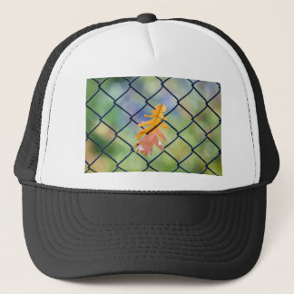 Fall Leaf Caught on a Fence Trucker Hat
