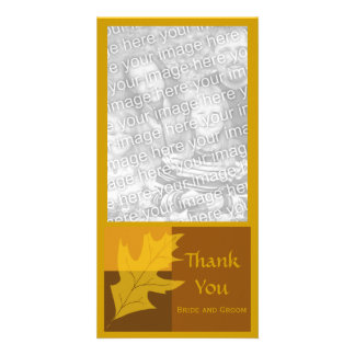 Fall Leaf Color Block Thank You Customized Photo Card