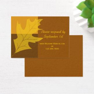 Fall Leaf Color Block Wedding RSVP Response Card