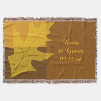 Fall Leaf Color Block Wedding Throw Blanket
