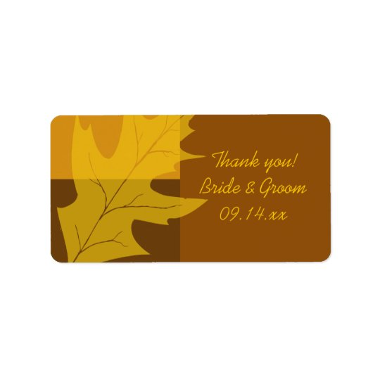 Fall Leaf Colour Block Wedding Thank You Favour Label