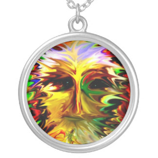 Fall Leaf Face Round Pendant Necklace