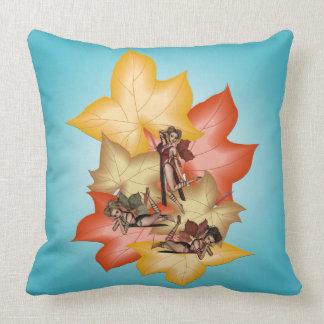 Fall Leaf Fae Triplets Cushion