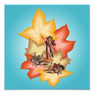 Fall Leaf Fae Triplets Photo Print