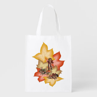 Fall Leaf Fae Triplets Reusable Grocery Bag