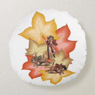Fall Leaf Fae Triplets Round Cushion