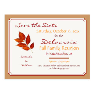 Fall Leaf Family Reunion, Party Save the Date Postcard