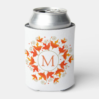 Fall Leaf Monogram Can Cooler