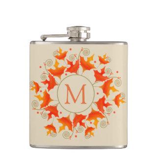Fall Leaf Monogram Hip Flask