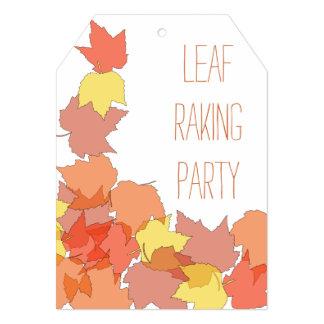 "Fall Leaf Raking Yard Clean Up Party Invitations 5"" X 7"" Invitation Card"