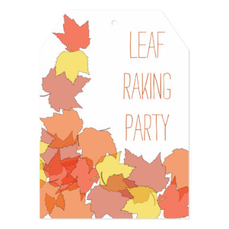 Fall Leaf Raking Yard Clean Up Party Invitations