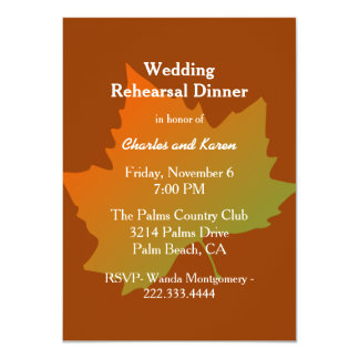 Fall Leaf Wedding Rehearsal Dinner 11 Cm X 16 Cm Invitation Card