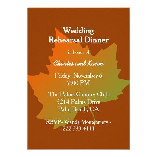 Fall Leaf Wedding Rehearsal Dinner Invitation