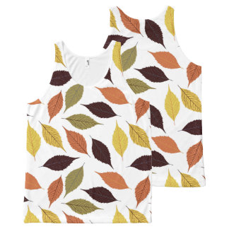 Fall Leafs Colors Seamless Pattern All-Over Print Tank Top