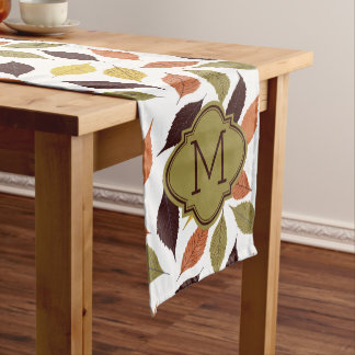 Fall Leafs Pattern Custom Monogram Medium Table Runner