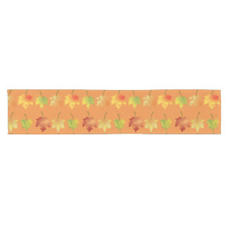 Fall leave pattern short table runner