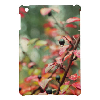 Fall Leaves and Berries in Teal and Red iPad Mini Covers