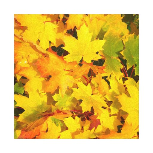 Fall Leaves Autumn Colors Leaf Design Stretched Canvas Print