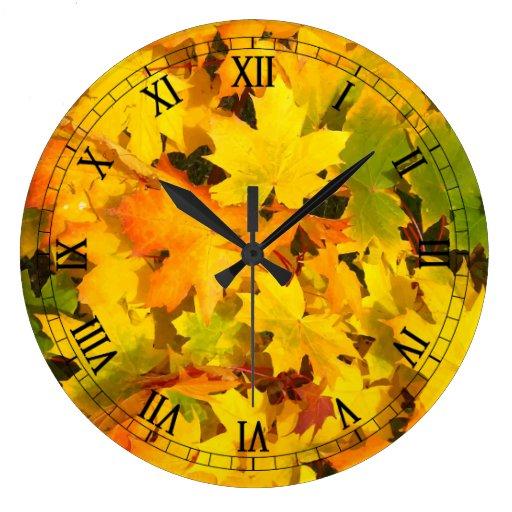 Fall Leaves Autumn Colors Leaf Design Wallclock
